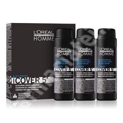 Vopsea de par pentru barbati Homme Cover 5 Saten Inchis, 3 doze x 50 ml, Loreal Professionnel