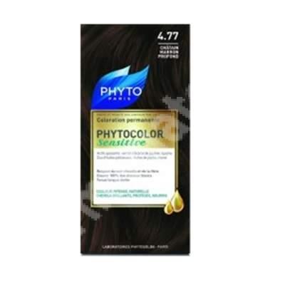 Vopsea pentru par Phytocolor Sensitive, nuanta 4.77 castaniu intens, Phyto