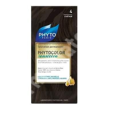 Vopsea pentru par Phytocolor Sensitive, nuanta 4 castaniu, Phyto