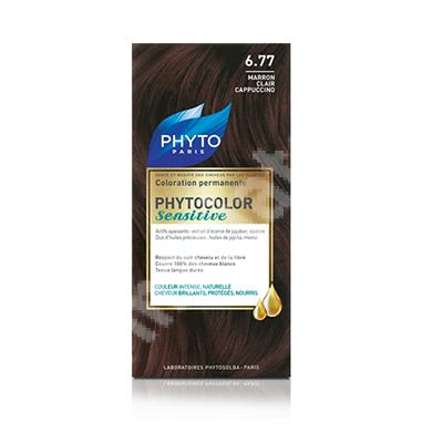 Vopsea pentru par Phytocolor Sensitive, nuanta 6.77 cappucino deschis, Phyto