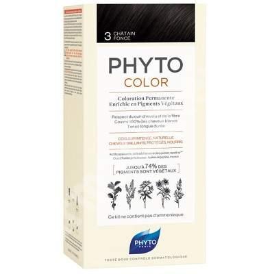 Vopsea permanenta pentru par Nuanta 3 Dark Brown, 50 ml, Phyto