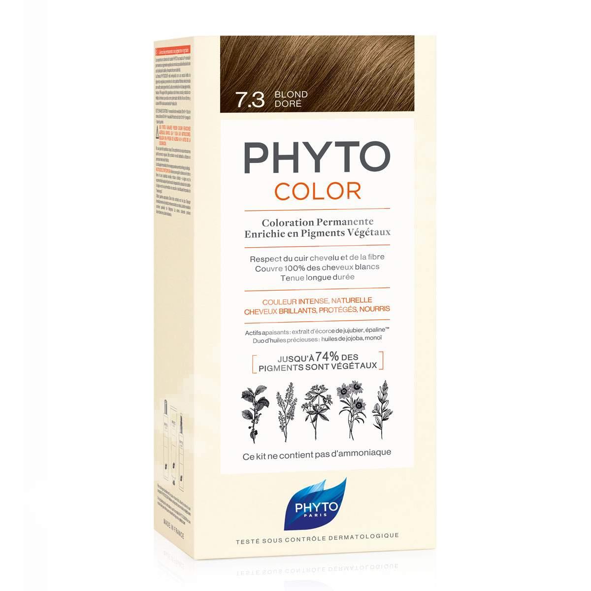 Vopsea permanenta pentru par Phytocolor, Golden Blonde (blond auriu) 7.3, 50 ml, Phyto