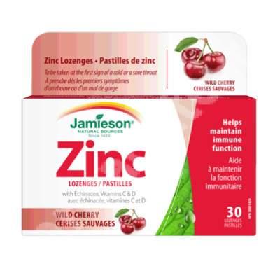 Zinc cu vitaminele C, D si Echinacea cu aroma de cirese salbatice, 30 tablete masticabile, Jamieson