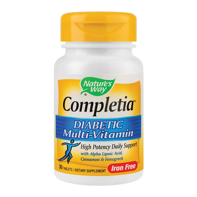 Completia Diabetic Multi-Vitamin (fara fier) Natures Way, 30 tablete, Secom