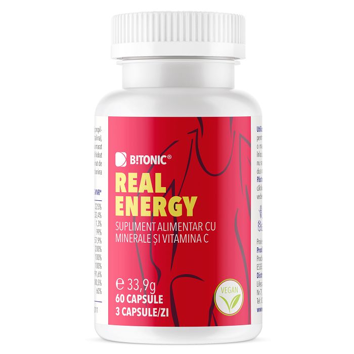 Complex exclusiv 9 minerale + Vitamina C Real Energy Bitonic, 60 capsule, Lifecare