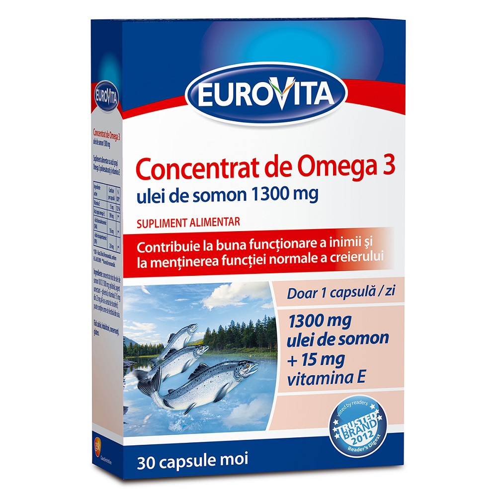 Concentrat de Omega 3 ulei de peste 1300mg Plus Vit D3+E, 30 capsule, Eurovita