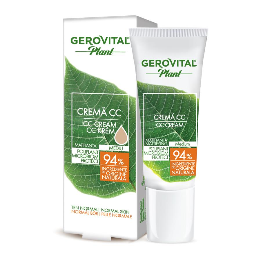 Crema CC mediu matifianta Poliplant Microbiom Protect Gerovital Plant, 30 ml, Farmec