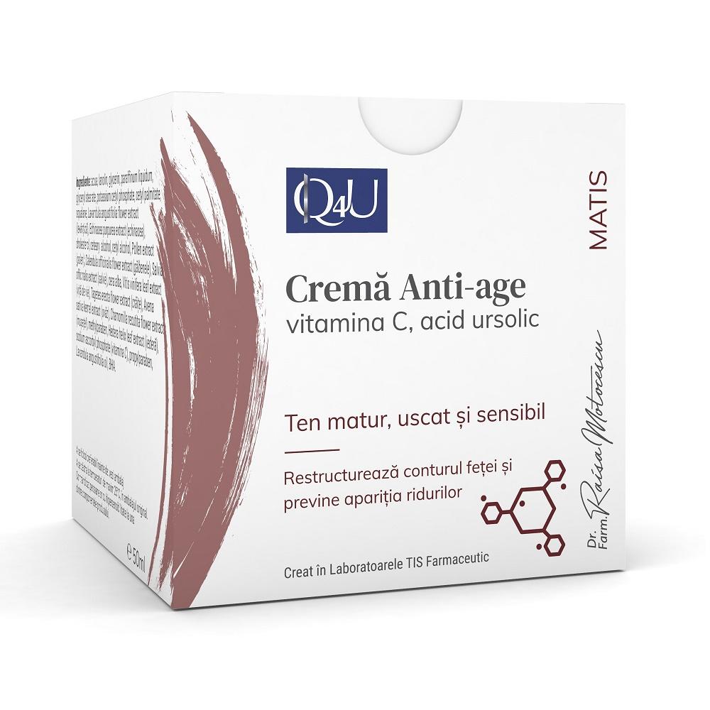 Cremă anti-age cu Vitamina C și acid ursolic Matis Q4U, 50 ml, Tis Farmaceutic