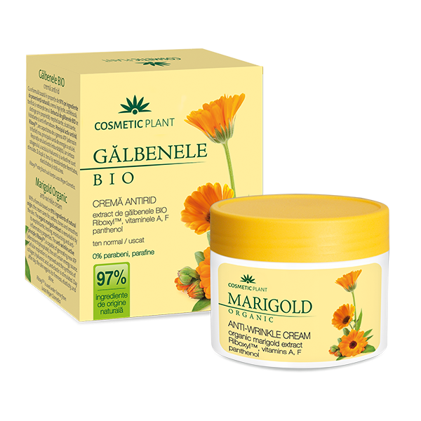 Crema antirid cu extract de galbenele Bio, Riboxyl, vitaminele A, F si pantenol, 50 ml, Cosmetic Plant