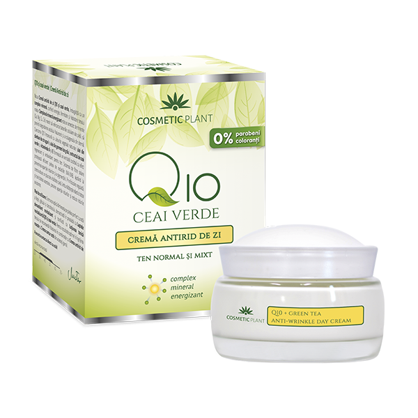 Crema antirid de zi Q10, ceai verde si complex mineral energizant, 50 ml, Cosmetic Plant