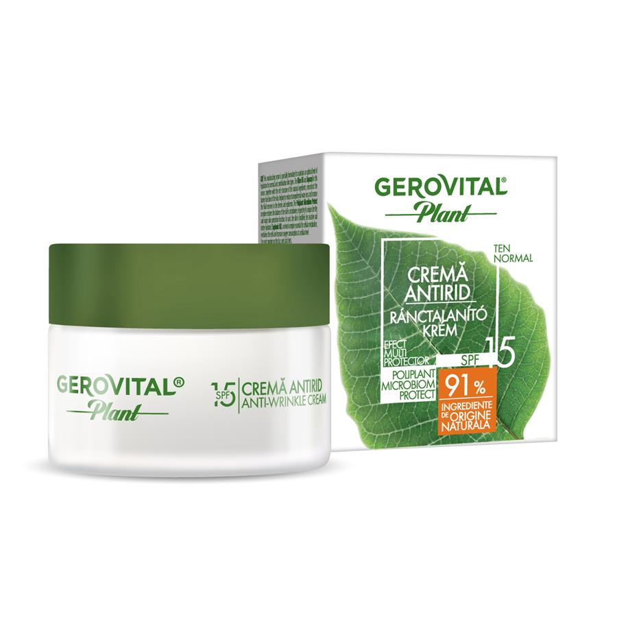 Cremă antirid Poliplant Microbiom Protect SPF 15 Gerovital Plant, 50 ml, Farmec