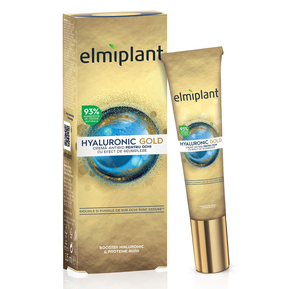 Crema antirid pentru ochi cu efect de umplere Hyaluronic Gold, 15 ml, Elmiplant