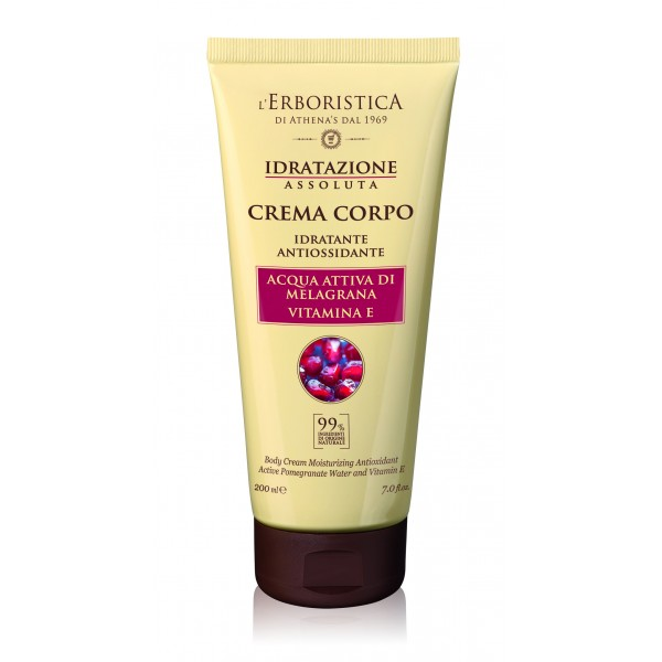 Crema de corp hidratanta si antioxidanta cu apa activa de rodie si vitamina E, 200 ml, L'Erboristica