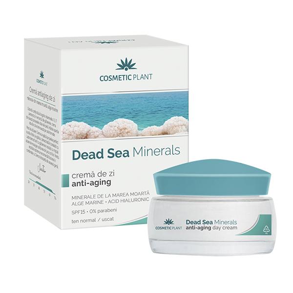 Crema de zi anti-aging cu minerale, alge marine si acid hialuronic cu SPF15 Dead Sea Minerals, 50 ml, Cosmetic Plant