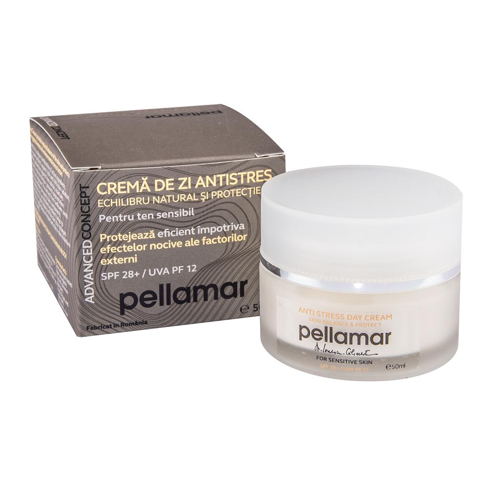Crema de zi antistres pentru ten sensibil cu SPF 28+ Advanced Concept, 50 ml, Pellamar