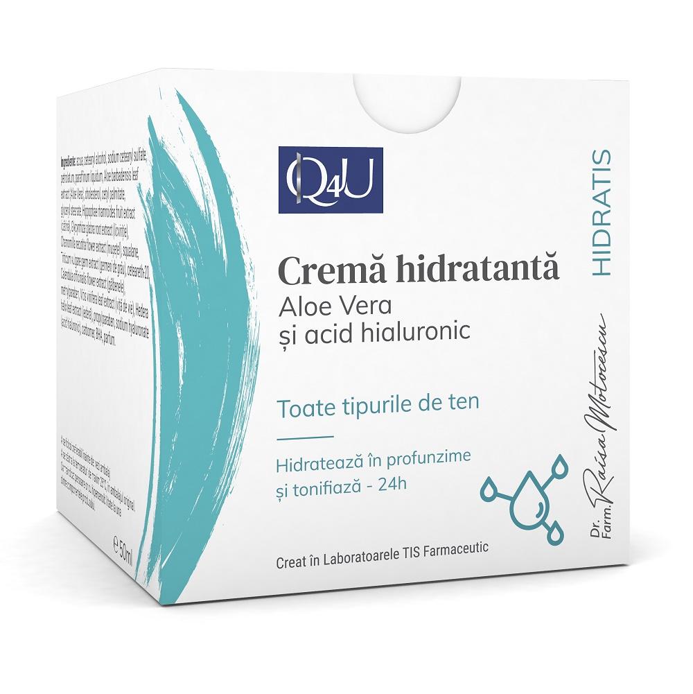 Cremă hidratanta cu aloe vera și acid hialuronic Hidratis Q4U, 50 ml, Tis Farmaceutic