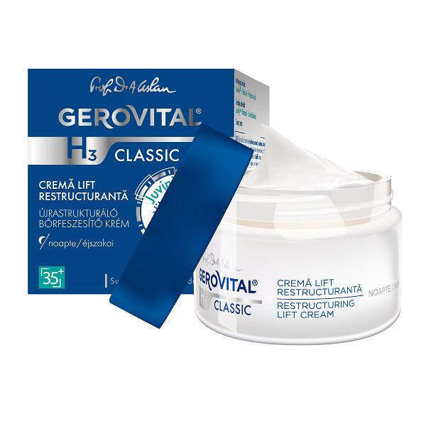 Cremă lift hidratanta de noapte Gerovital H3 Classic, 50 ml, Farmec