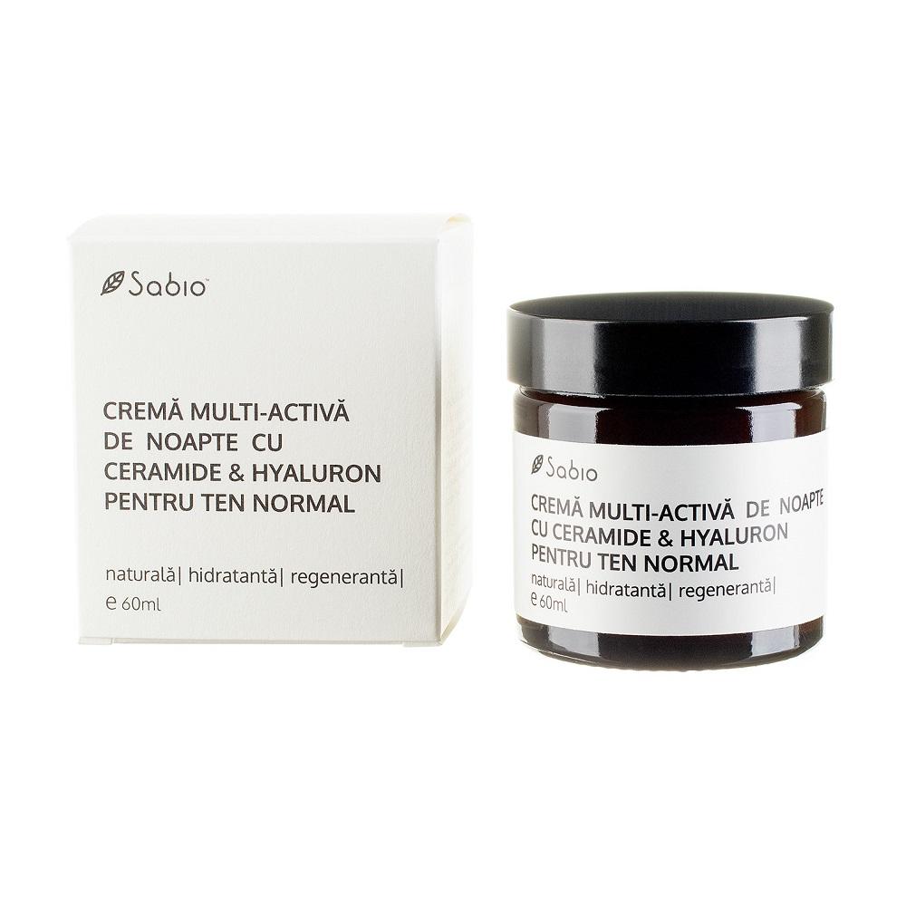 Cremă multi-activă de noapte cu ceramide si hyaluron pentru ten normal, 60 ml, Sabio