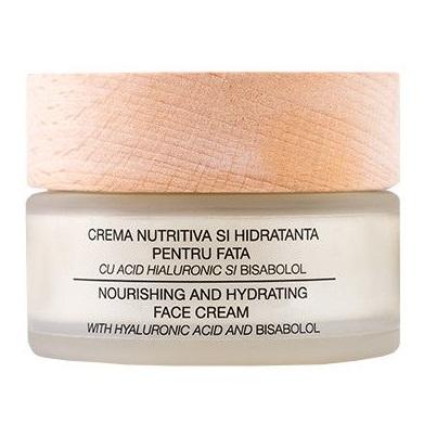 Crema nutritiva si hidratanta pentru fata cu acid hialuronic si bisabolol , 50ml, Nuca Organic
