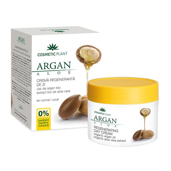 Crema regeneranta de zi cu ulei de argan bio si extract bio de aloe vera, 50 ml, Cosmetic Plant