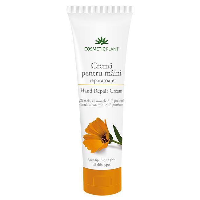 Crema reparatoare pentru maini cu extract de galbenele si vitaminele A, F, si pantenol, 150 ml, Cosmetic Plant