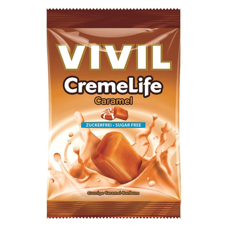 Bomboane fără zahăr cu aromă de caramel Creme Life, 110 g, Vivil