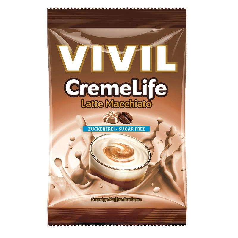 Bomboane fără zahăr cu aromă de Latte Macchiato Creme Life, 110 g, Vivil