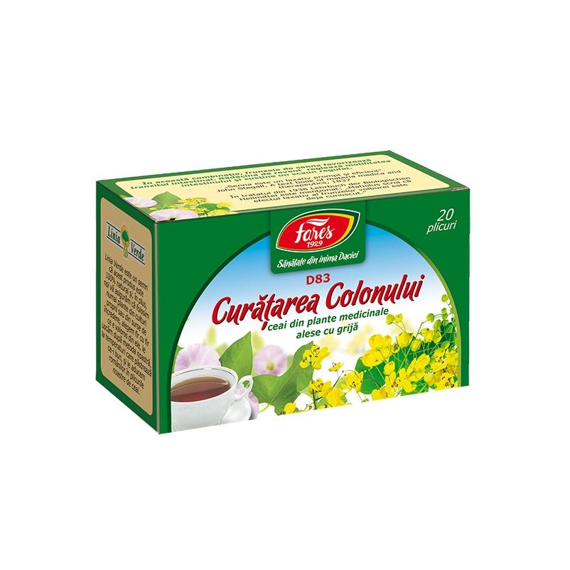 Ceai Curatarea Colonului, D83, 20 plicuri, Fares : Farmacia Tei online