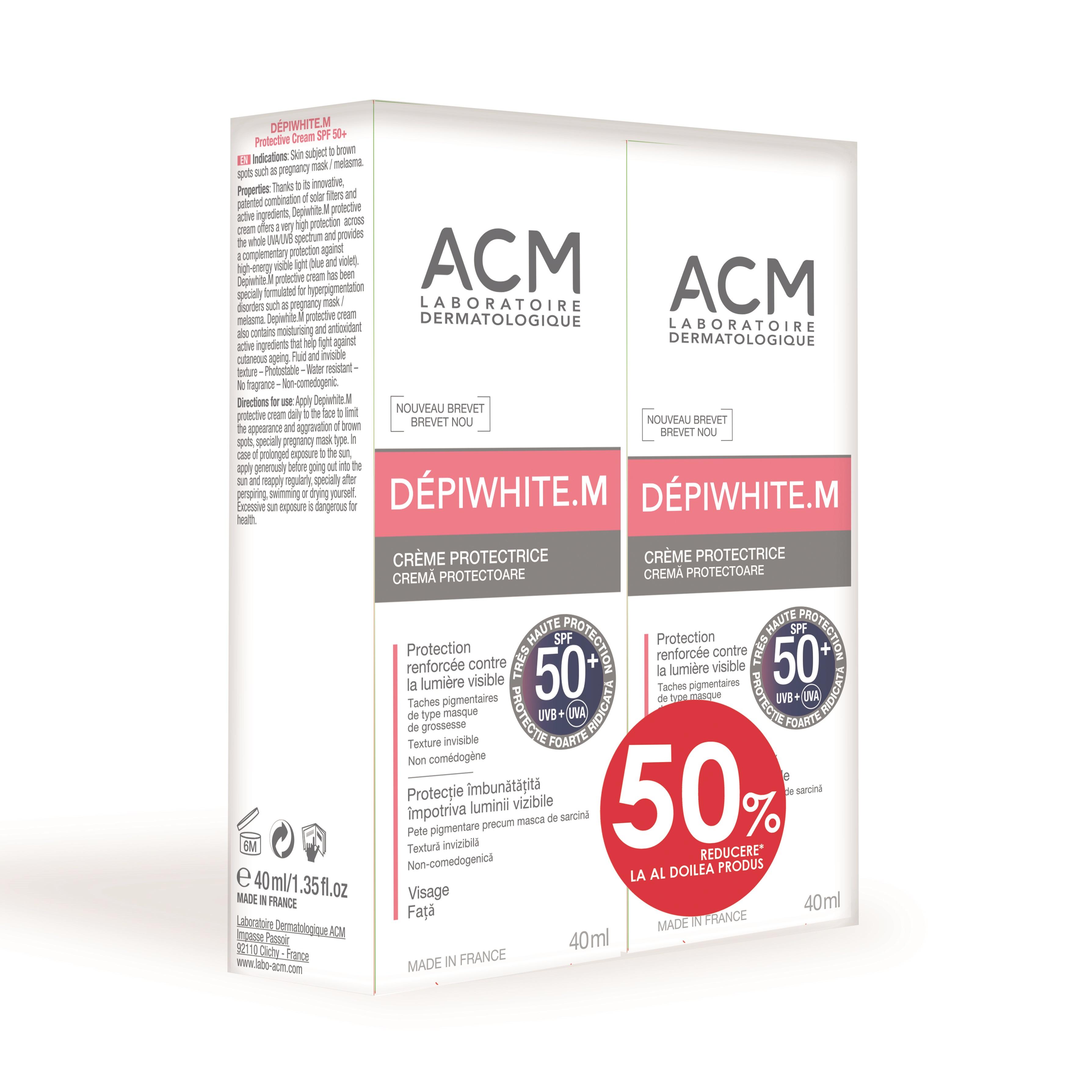 Pachet Cremă de protecție Depiwhite M SPF 50+, 40 ml + 40 ml, Acm (50% reducere la al doilea produs)