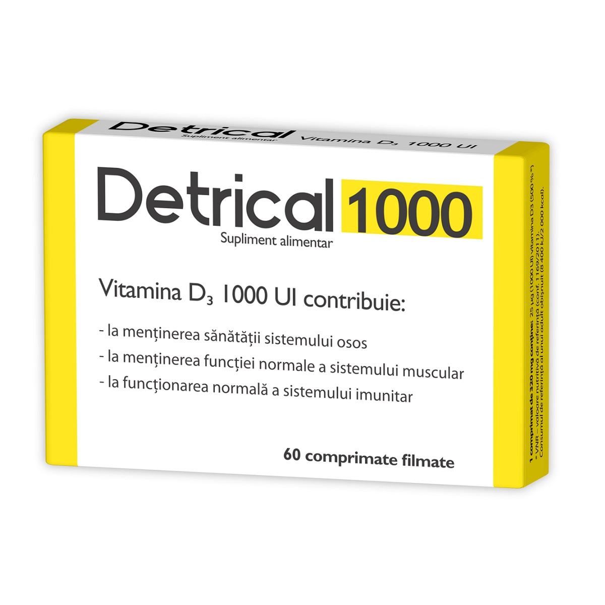 Detrical vitamina D 1000 UI, 60 comprimate, Zdrovit
