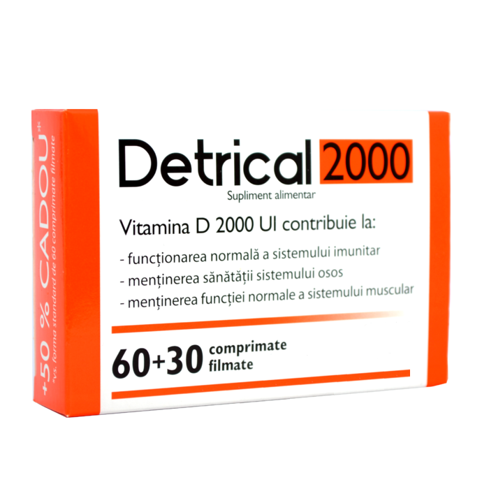 Pachet Detrical Vitamina D 2000UI, 60 comprimate + 30 comprimate, Natur Produkt