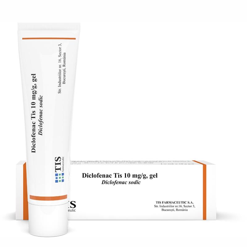 DiclofenacTis gel 10 mg/g cu ardei, 50 g, Tis Farmaceutic