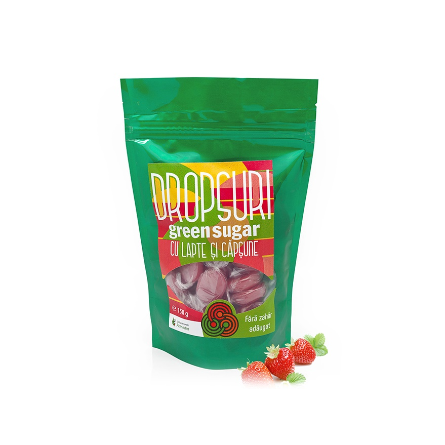 Dropsuri Green Sugar cu aroma de capsune, 150g, Remedia
