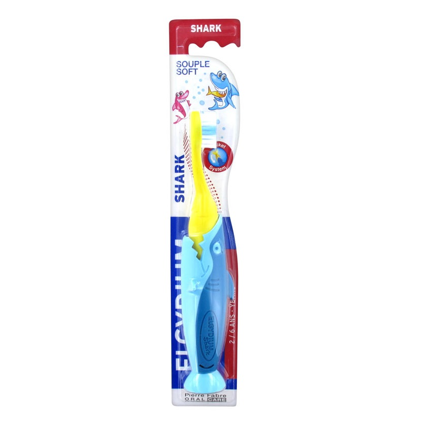 Periuta de dinti pentru copii Shark, 2-6 ani, Soft, Elgydium Kids