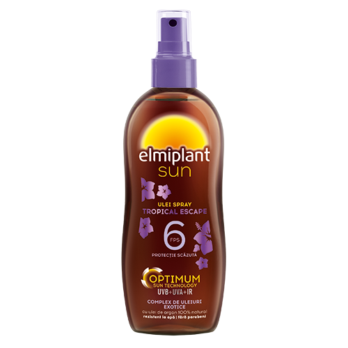 Ulei spray pentru bronzare accelerata SPF 6 Tropical Escape, 150 ml, Elmiplant