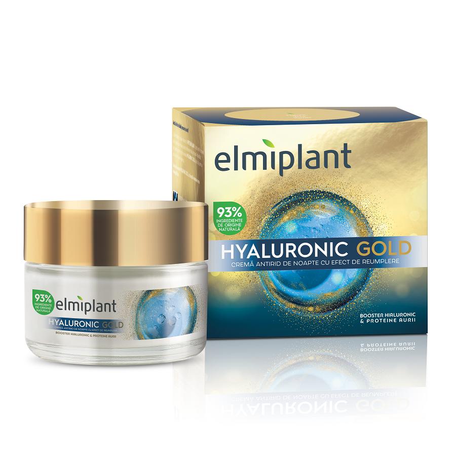 Cremă de noapte antirid cu efect de umplere Hyaluronic Gold, 50 ml, Elmiplant