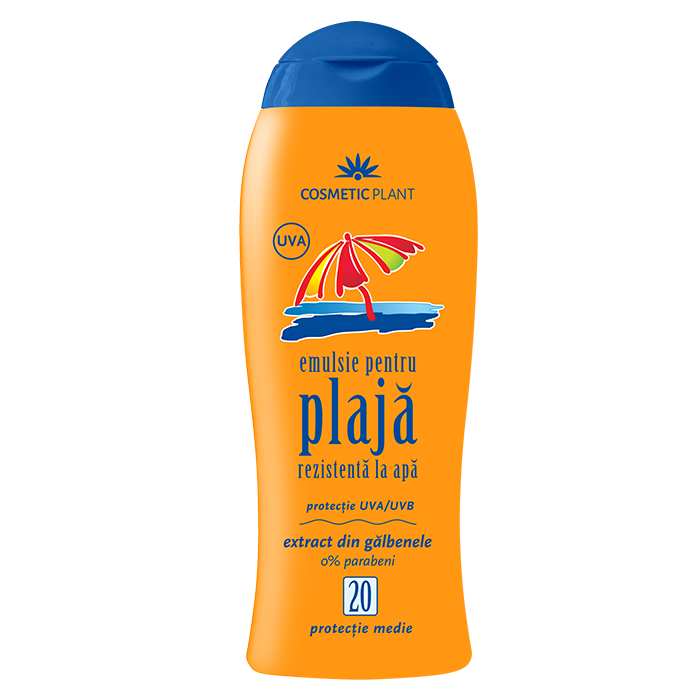 Emulsie plaja rezistenta la apa cu galbenele SPF 20, 200 ml, Cosmetic Plant