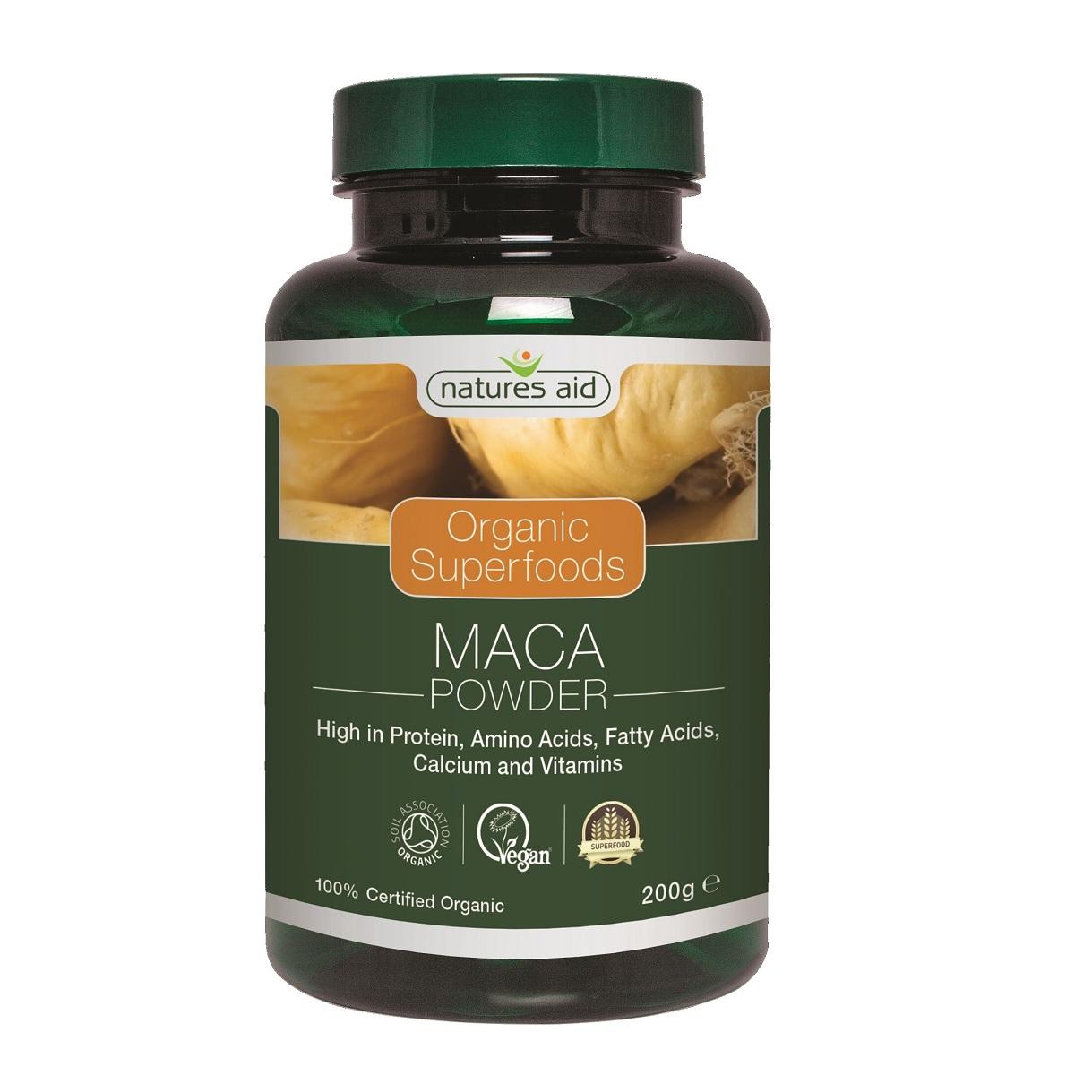 Pudră de maca organică, 200 g, Natures Aid