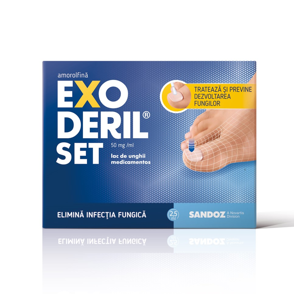 Exoderil Set 50 mg/ml lac de unghii medicamentos Amorolfină, 2.5 ml, Sandoz