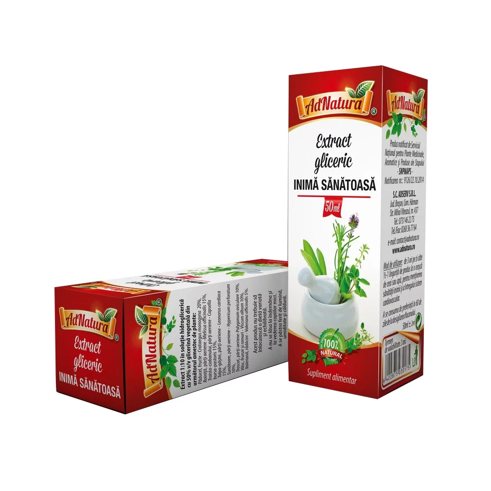 Extract gliceric Inimă sănătoasă, 50 ml, AdNatura