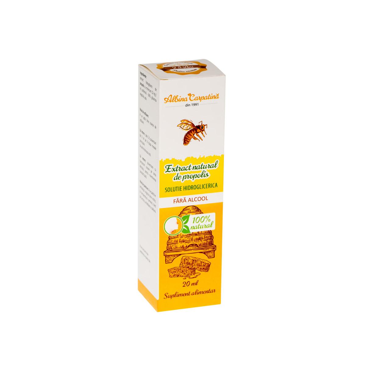 Extract natural de propolis fără alcool Albina Carpatină, 20 ml, Apicola Pastoral