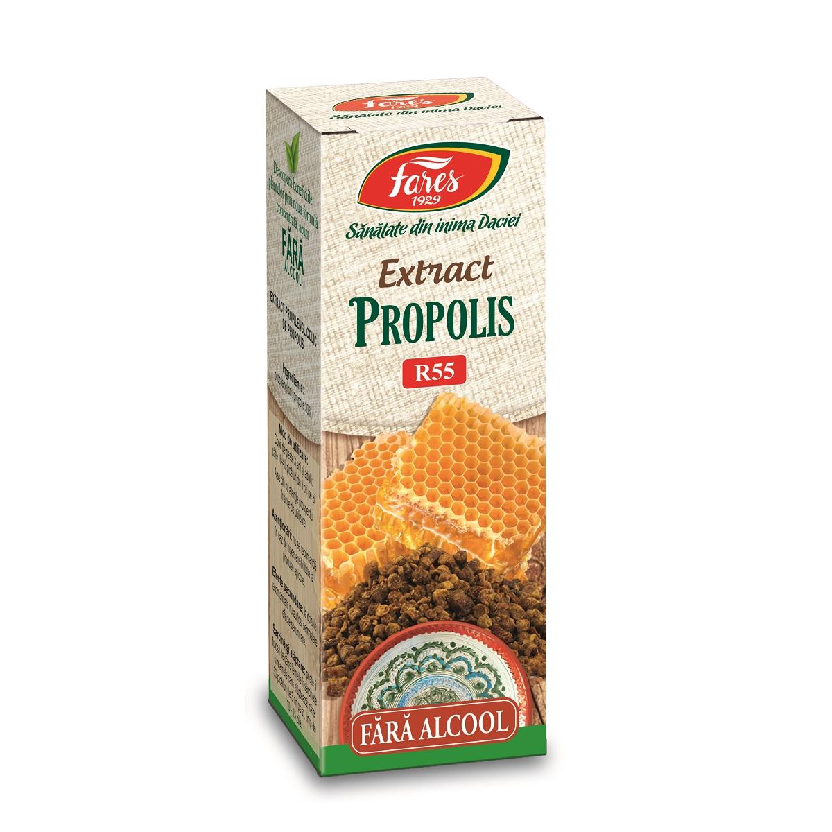 Extract de Propolis fără alcool, R55, 20 ml, Fares