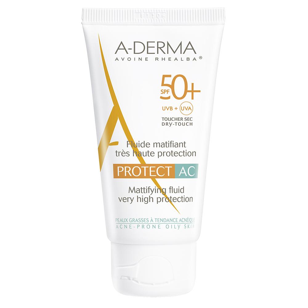 Fluid matifiant pentru protectie solara cu SPF 50+, 40 ml, A-Derma Protect AC