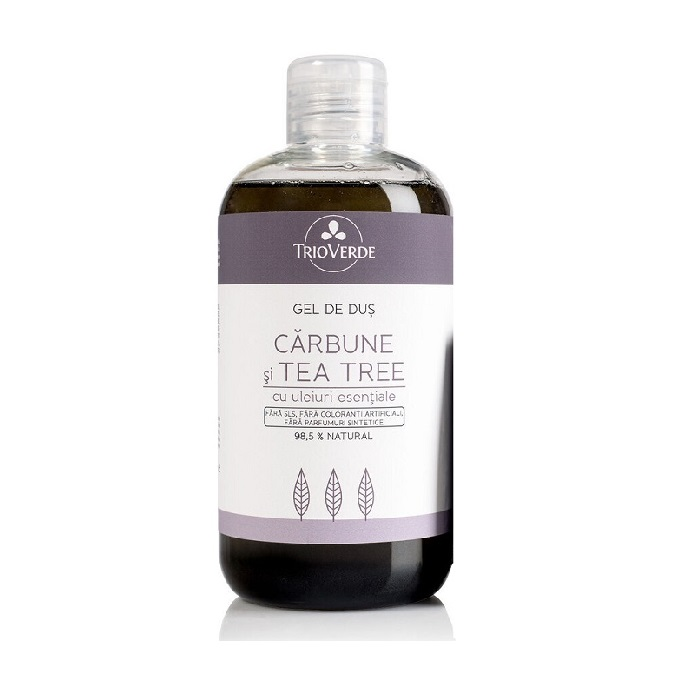 Gel de duș cu Cărbune și Tea Tree, 300 ml, Trio Verde