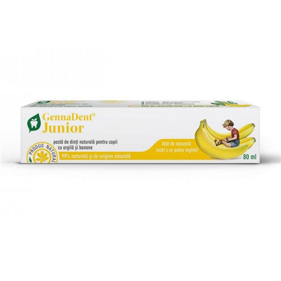 Pastă de dinți naturală cu argilă și banane GennaDent Junior, 80 ml, Vivanatura