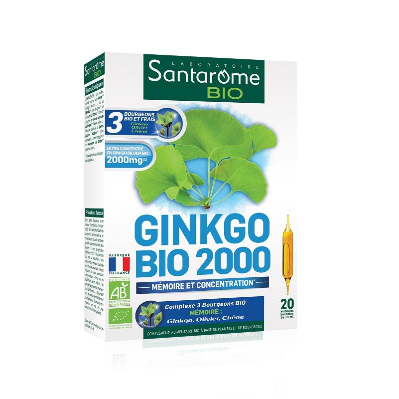 Ginkgo Bio 2000, 20 fiole x 10 ml, Santarome Nature