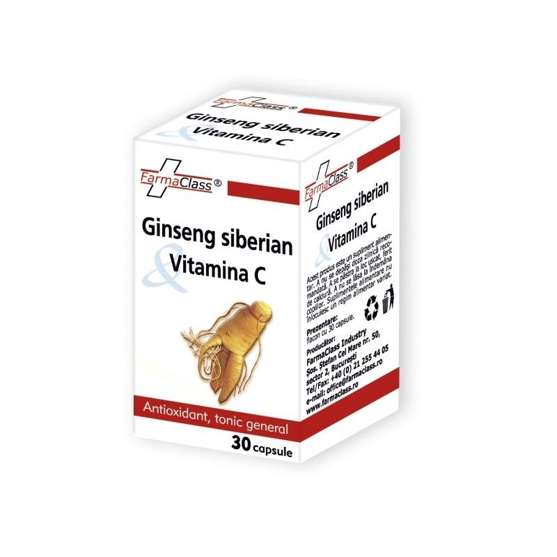 Ginseng siberian & Vitamina C, 30 capsule, FarmaClass