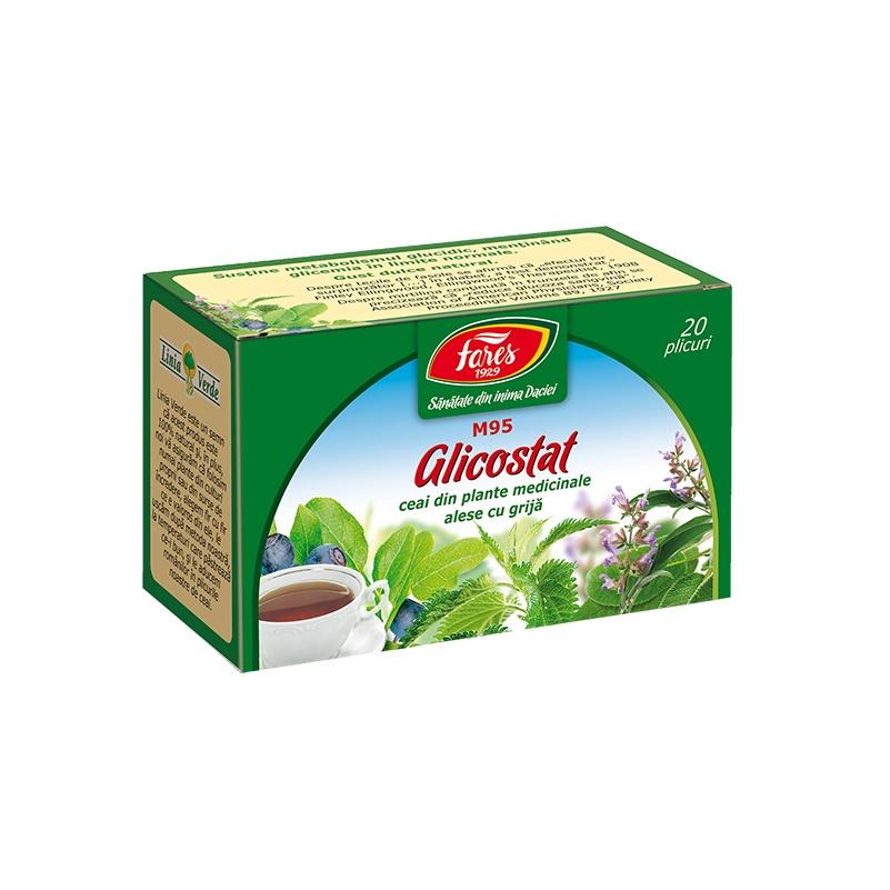 Ceai Glicostat, M95, 20 plicuri, Fares