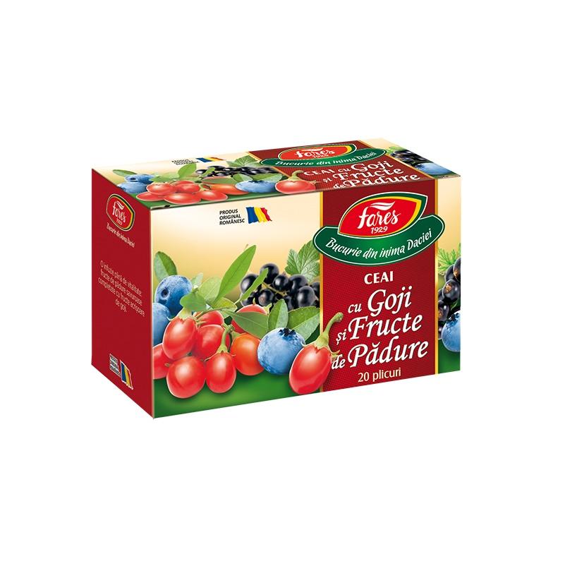 Ceai cu goji și fructe de pădure Aromfruct, 20 plicuri, Fares