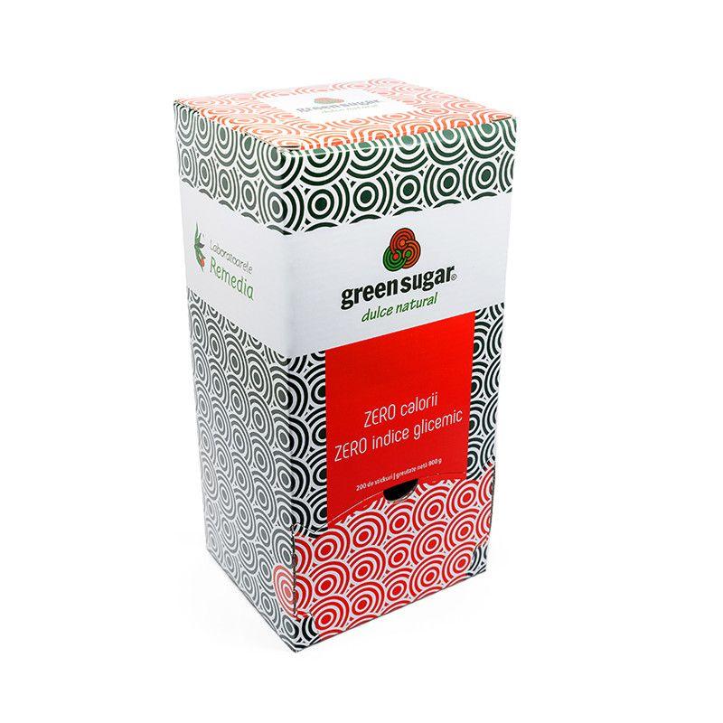 Indulcitor natural Green Sugar, 200 stickuri x 4g, Remedia
